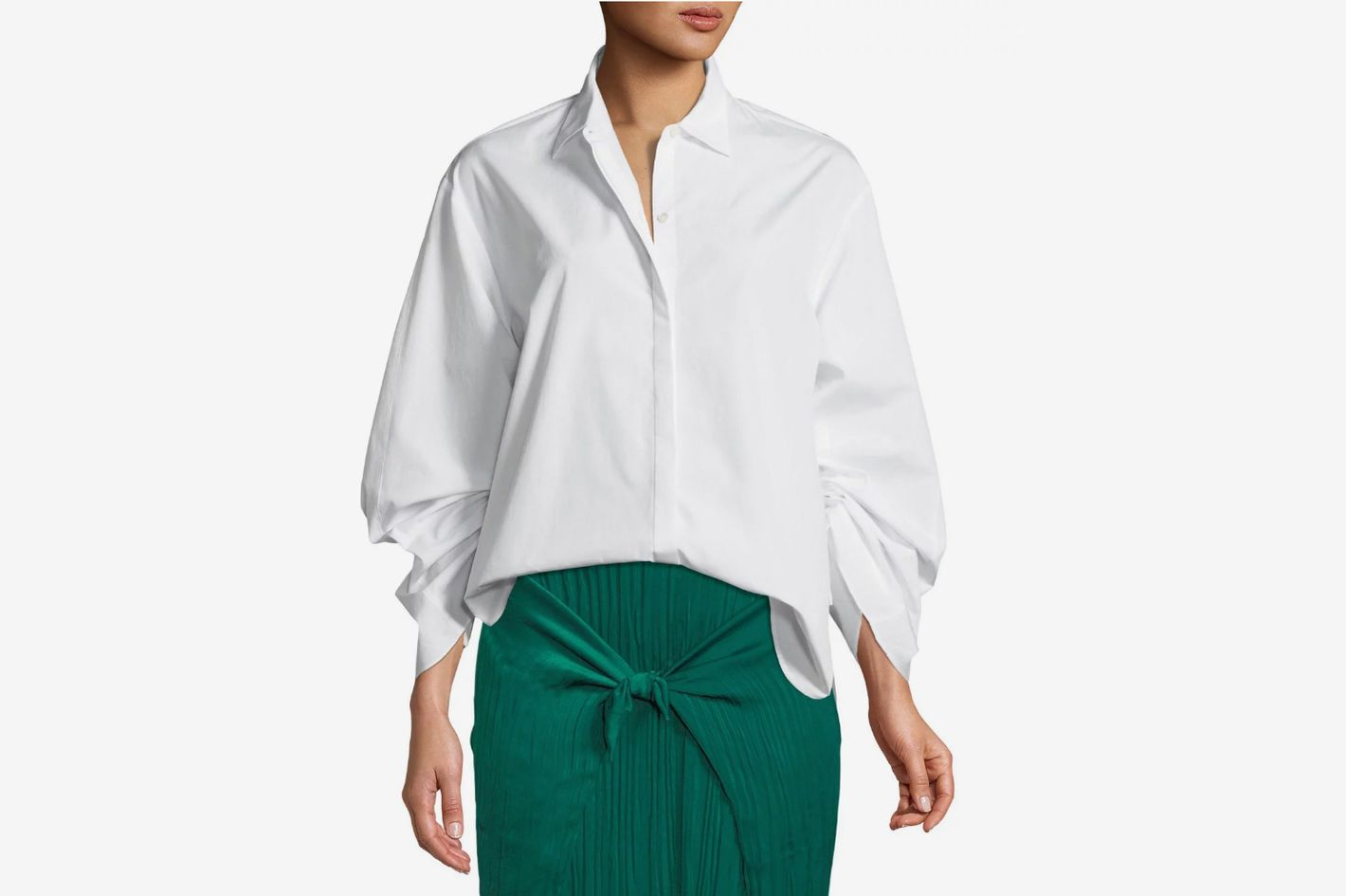 ad135eccade3 Vince Button-Front Cinched Cotton Poplin Shirt at Neiman Marcus