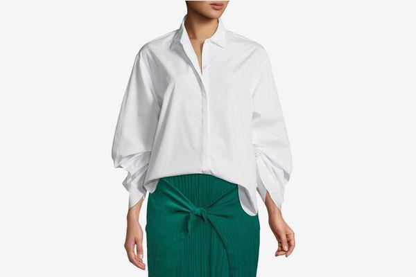 Vince Button-Front Cinched Cotton Poplin Shirt