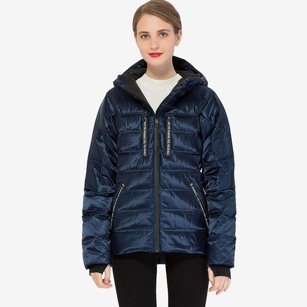 Orolay Women Shiny Quilted Down Jacket with Hood Short Sport Puffer Coat