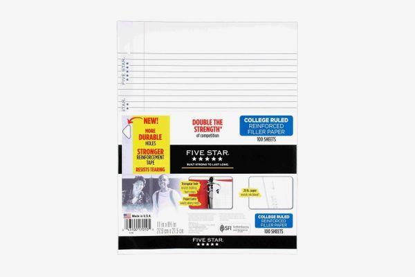 Five Star Filler Paper, College Ruled, Reinforced, Loose Leaf Paper