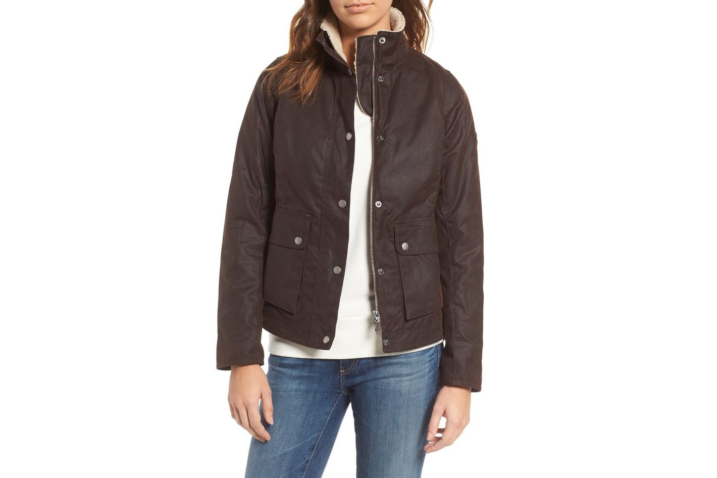 Barbour Cushat Faux Shearling Trim Waxed Jacket