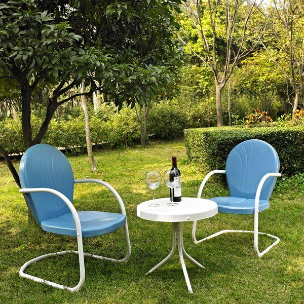 Crosley Furniture Griffith Three-Piece Metal Outdoor Conversation Set