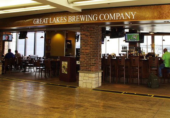 "<a href=""http://www.greatlakesbrewing.com/"">Great Lakes Brewing Company</a>  <i>Concourse C; no phone</i>  Is 10 a.m. too early for a brat and a beer? Not if you're stuck in Cleveland's otherwise-dismal airport it isn't.An ever-changing selection of beers is the move here, but the pierogies and sausages aren't half-bad, either. Even better: The pub sells six-packs to go, and since you're already past the security checkpoint, you can grab some cold ones for your flight."