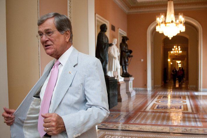 Former Sen. Trent Lott, R-Miss., shows off his seersucker suit in the Ohio Clock Corridor on Thursday, June 23, 2011. The third thursday of June is traditionally called Seersucker Thursday.