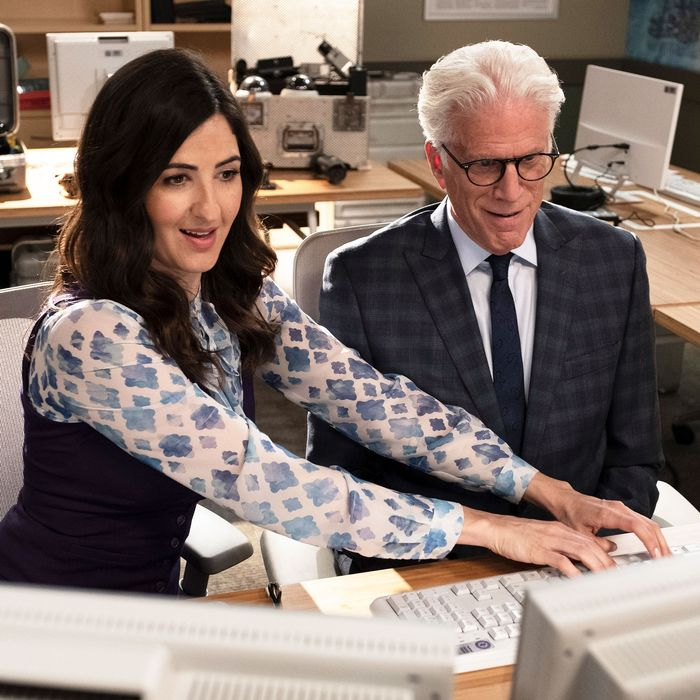 D'Arcy Carden and Ted Danson in The Good Place.