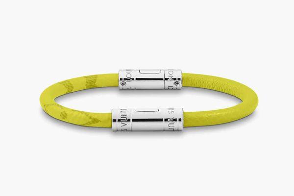 Split Leather Bracelet in Yellow