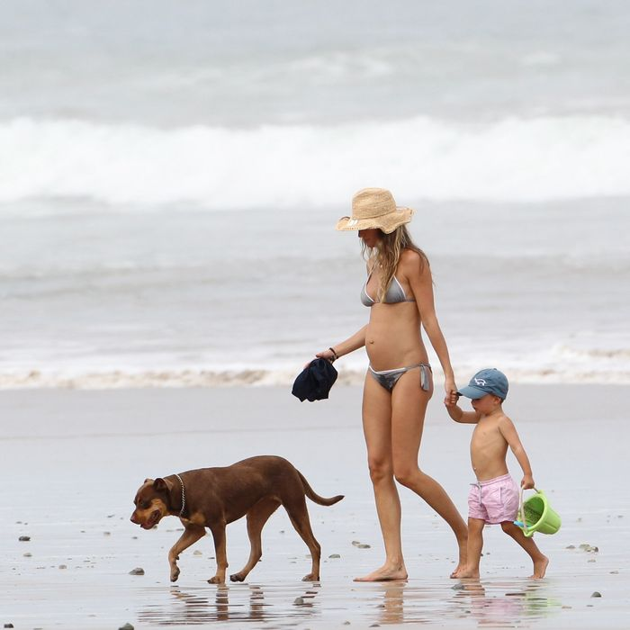 Pregnant Gisele in Costa Rica last month.