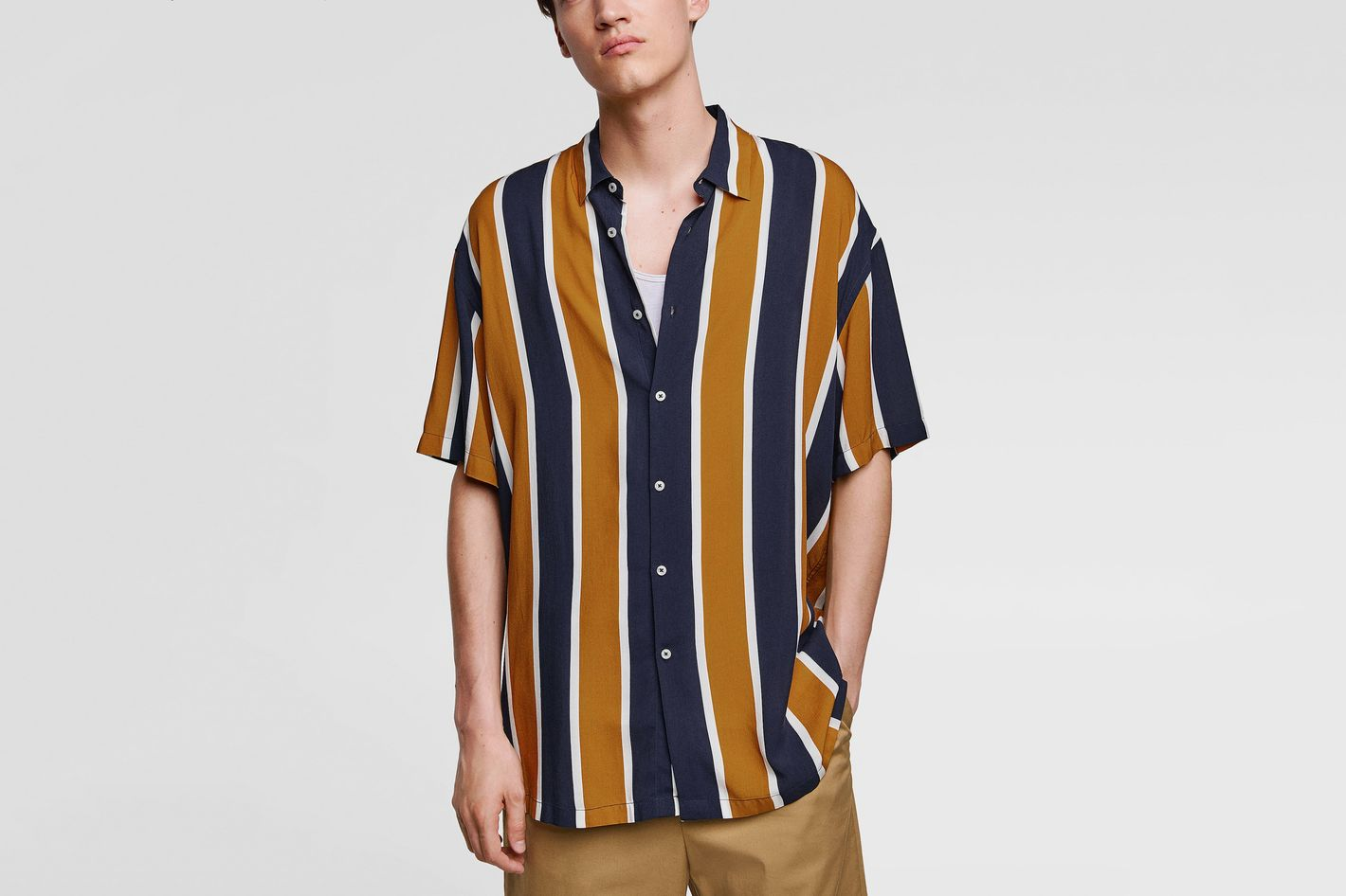 Flowy Shirt with Vertical Stripes