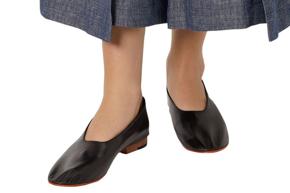 Martiniano Black Leather Glove Flats