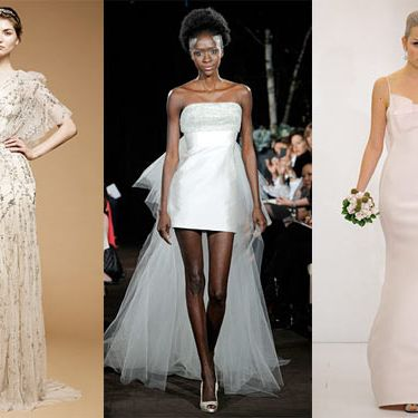 From left: new bridal looks Jenny Packham, Anne Bowen, and Angel Sanchez.