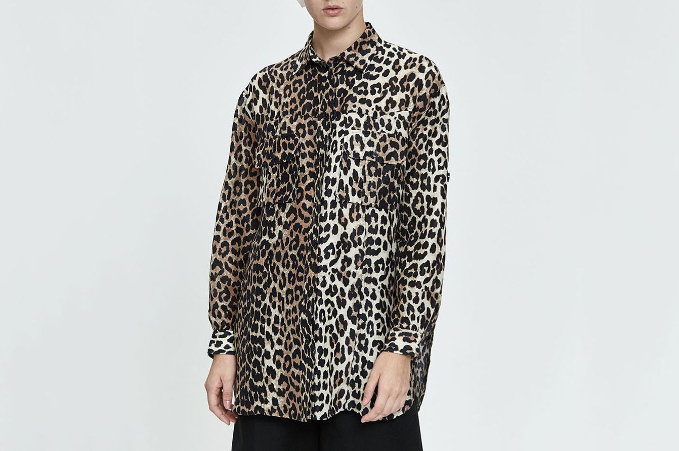 Ganni Silk Linen Leopard Print Button-Up