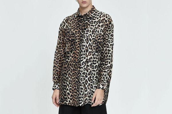 Ganni Silk Linen Leopard Print Button-Up