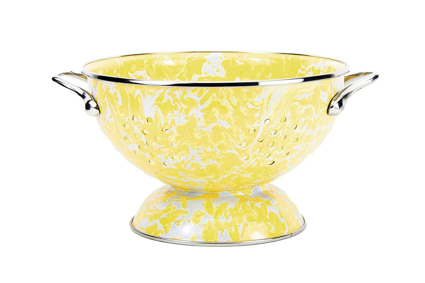 Enamelware — Yellow Butter Swirl Pattern, 1½ Quart Colander