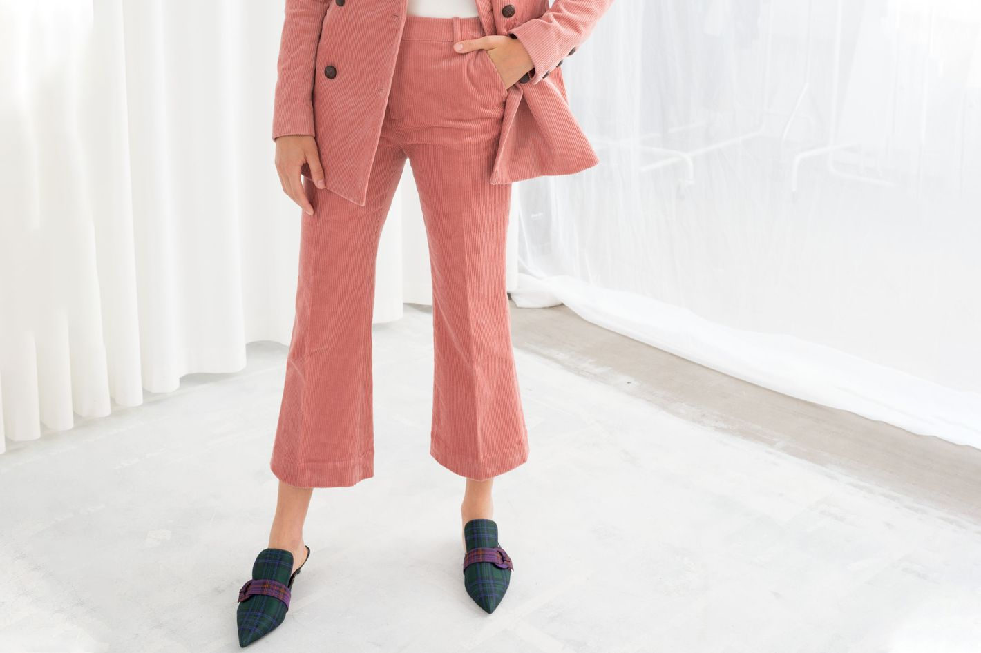 Cropped Wide Corduroy Pants