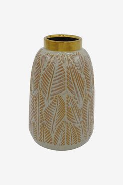 Stone & Beam Mid-Century Feather Vase, Neutral and Gold