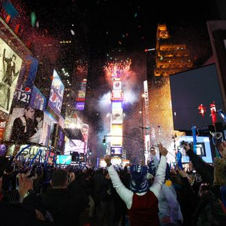 A general view of atmosphere during New Year's Eve 2012 in Times Square on December 31, 2011 in New York City.