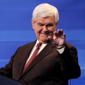 AMES, IA - AUGUST 11: Republican presidential candidate former House Speaker Newt Gingrich is pictured during a commercial break at the Iowa GOP/Fox News Debate on August 11, 2011 at the CY Stephens Auditorium in Ames, Iowa. This is the first Republican presidential debate in the state ahead of Saturday's all important Iowa Straw Poll. (Charlie Neibergall-Pool/Getty Images)