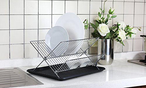 Deluxe Chrome-Plated Steel Foldable X-Shape 2-Tier Shelf Small Dish Drainer