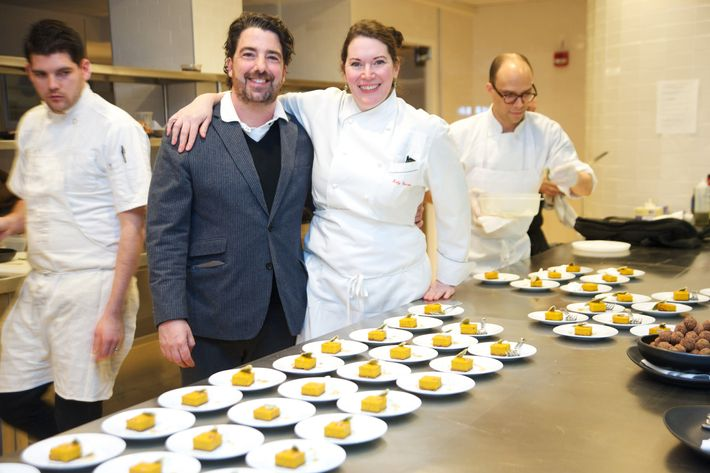 Chef Katy Sparks and Tavern co-owner Jim Caiola in the kitchen.