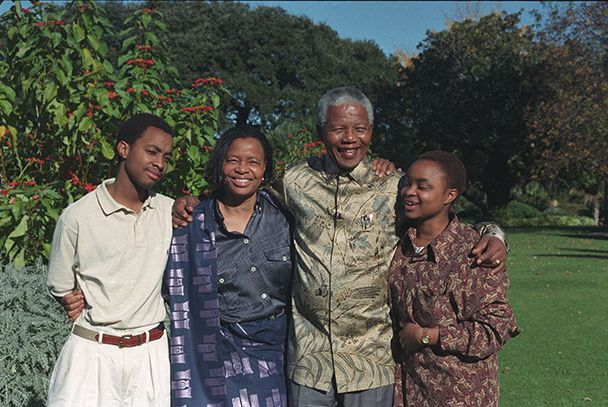 Nelson Mandela and his wife Graca Machel, with her son and daughter Malenga (left) and Josina (right) at Genadendal, his Cape Town residence.