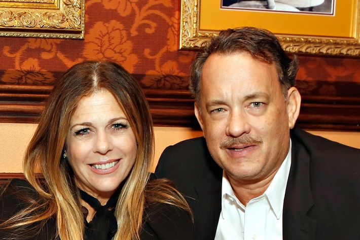 Hanks with his wife, Rita Wilson.