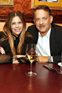 Hanks with his wife, Rita Wilson.