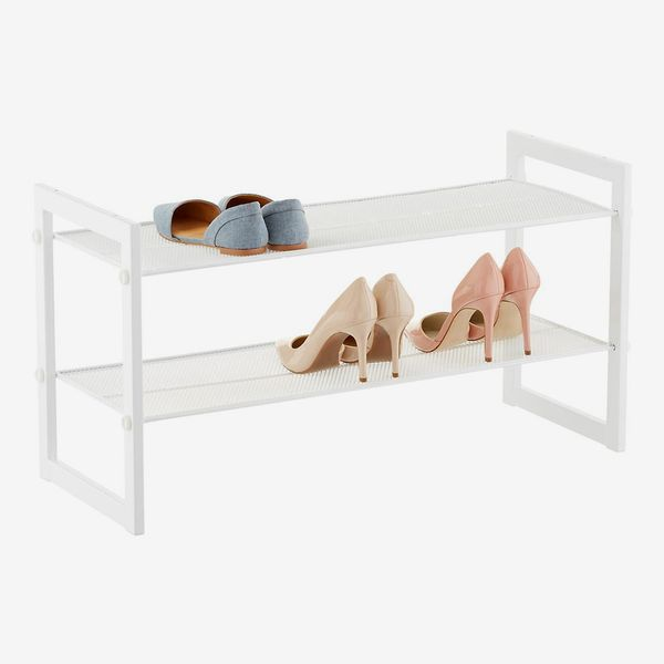 White 2-Tier Stackable Mesh Shoe Shelf