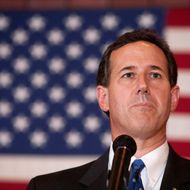 "FOND DU LAC, WI - MARCH 25:   Republican presidential candidate, former U.S. Sen. Rick Santorum speaks to supporters at a ""Rally for Rick,"" at Ledgeview Bowling Lanes on March 25, 2012 in Fond du Lac, Wisconsin. Santorum is back on the campaign trail following a decisive victory in Louisiana's GOP primary election. (Photo by Mark Hirsch/Getty Images)"