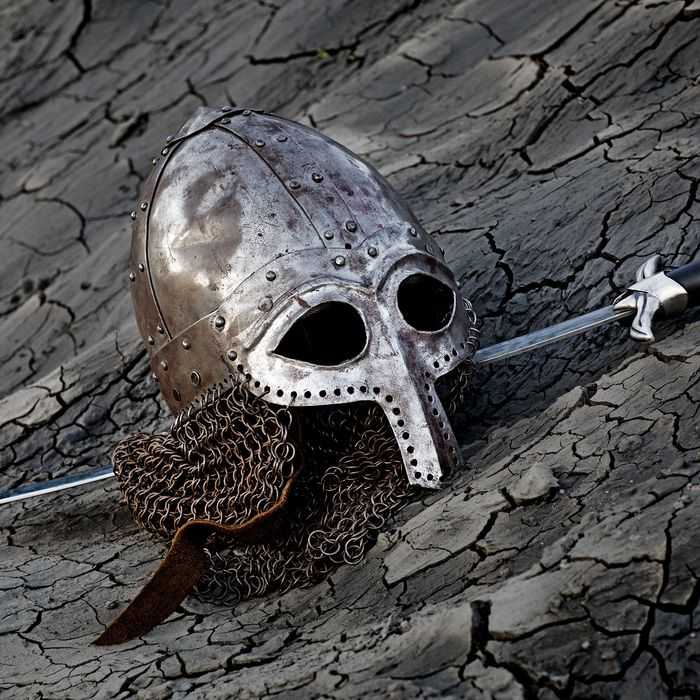 Viking helmet and sword.