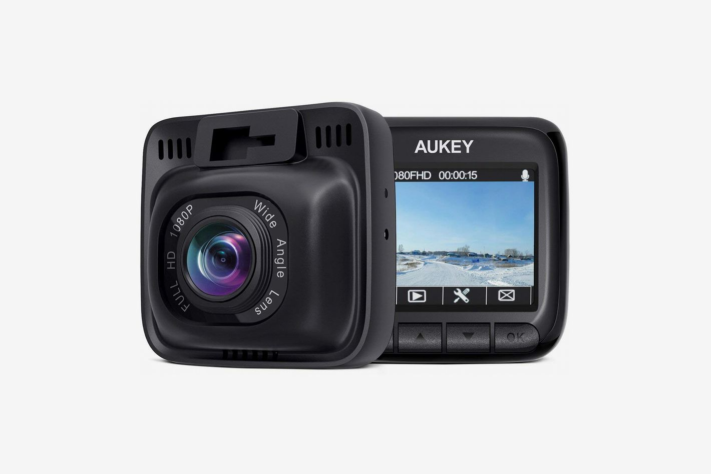 "AUKEY Dash Cam, 2"" Screen, Full HD 1080p, 6-Lane 170 Degree Wide Angle Lens"