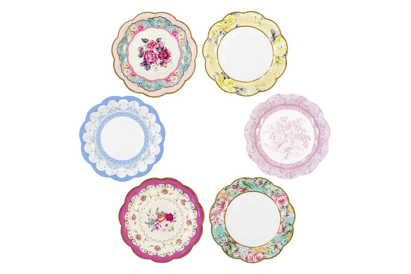 Talking Tables Truly Scrumptious Vintage Floral Small Paper Plates, 12-Count, 6.75 Inches