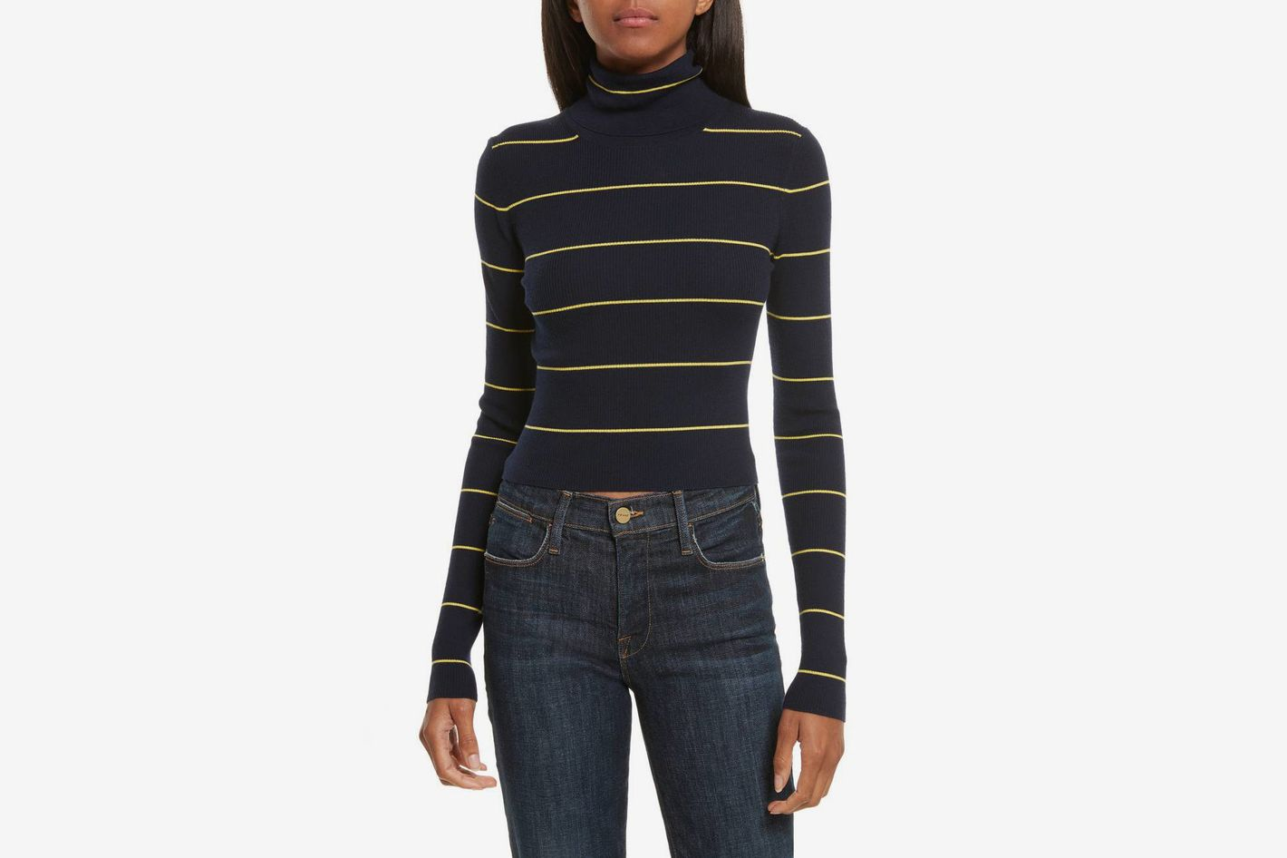Theory striped cropped turtleneck