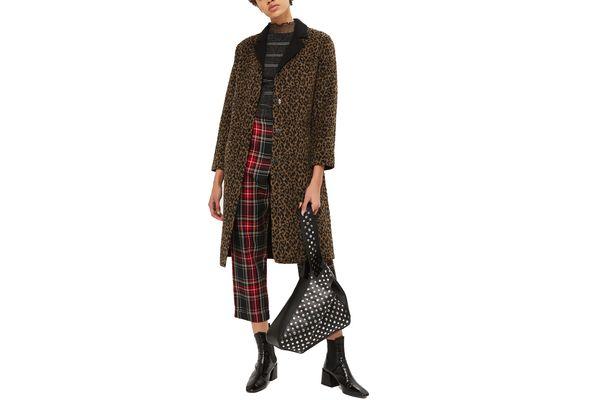 Buttoned Seam Leopard Print Coat