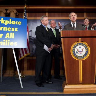 US Senate Majority Leader Harry Reid speaks during a press conference as the Senate prepares to vote on the Employment Non Discrimination Act, which would prohibit discrimination based on sexual orientation, at the US Capitol in Washington, DC, November 7, 2013. Standing alongside Reid are (L-R): Senate Majority Whip Dick Durbin, Democratic Senator Tom Harkin of Iowa, Democratic Senator Jeff Merkley of Oregon, Democratic Senator Patty Murray of Washington and Democratic Senator Chuck Schumer of New York. AFP PHOTO / Saul LOEB (Photo credit should read SAUL LOEB/AFP/Getty Images)