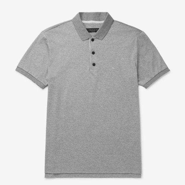 Rag & Bone Mélange Cotton-Jersey Polo Shirt
