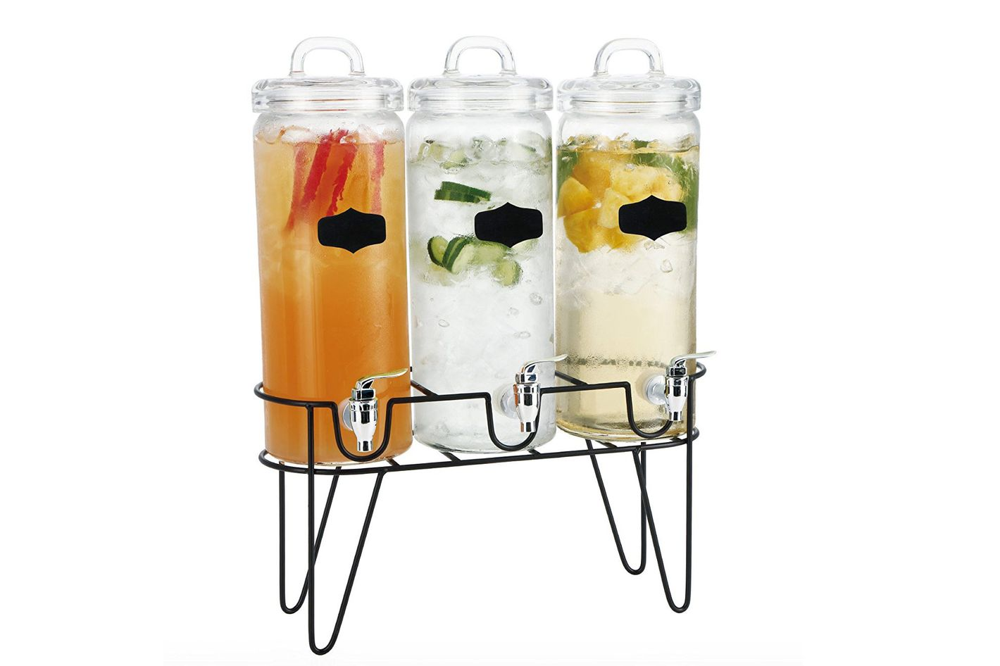 Simple Flow 3 Piece Mason Jar Glass Drink Beverage Dispenser