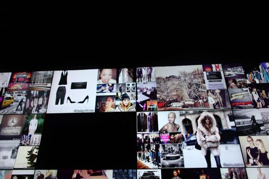 MANHATTAN, NY – FEBRUARY 06, 2014: The instagram wall at the Lincoln Center in Manhattan, NY, on February 06, 2014, the first day of Spring 2014 Mercedes-Benz Fashion Week. CREDIT: Yana Paskova for The Cut/New York magazine
