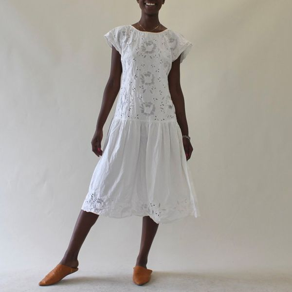 Vintage White Cotton Broderie Anglaise Dress