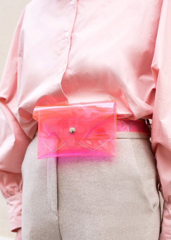 Hot Pink Clear PVC Belt Bag