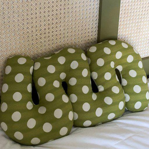 Faire Plaisir Green Grapes Polka Dot Squiggle Pillow