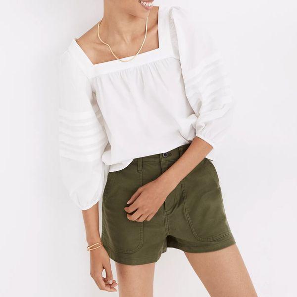 Square-Neck Pleat-Sleeve Top