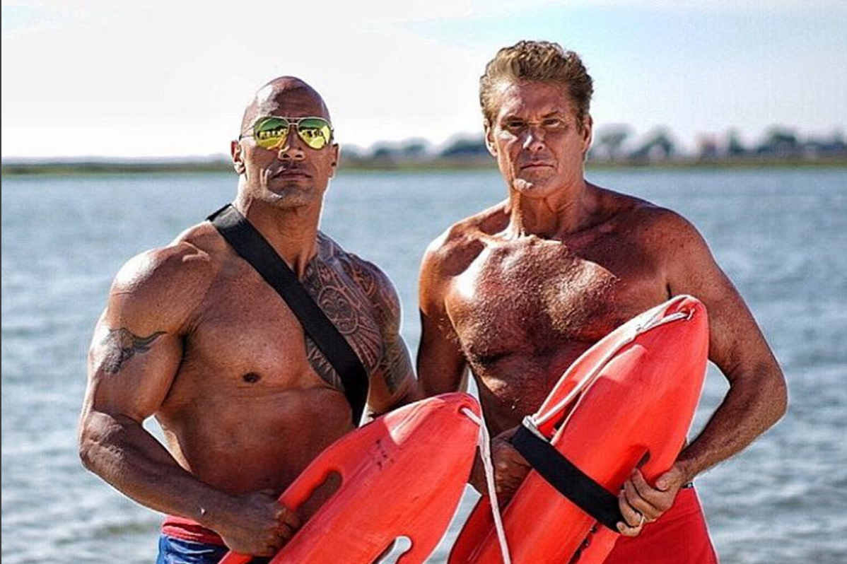 David Hasselhoff Visits the Set of Baywatch, the First Movie to Be Adapted Entirely From Instagram Photos