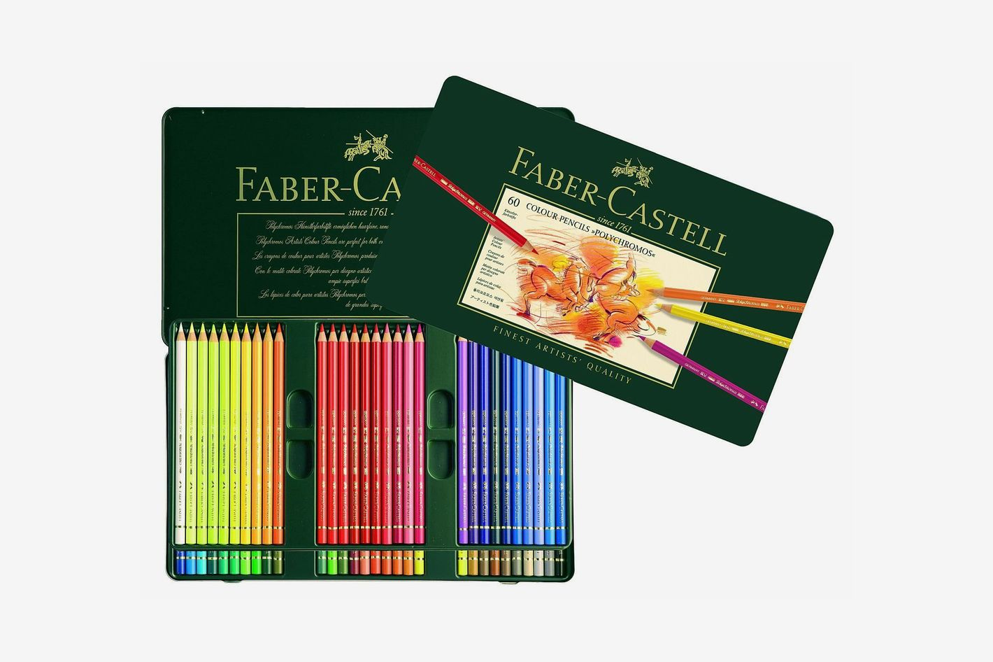 Faber-Castell Polychromos Colored Pencil Set in Metal Tin, 60 Pieces