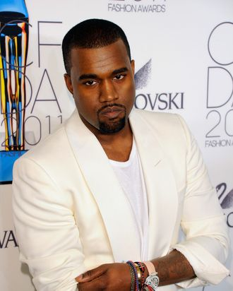 NEW YORK, NY - JUNE 06: Kanye West poses backstage at the 2011 CFDA Fashion Awards at Alice Tully Hall, Lincoln Center on June 6, 2011 in New York City. (Photo by Andrew H. Walker/Getty Images)