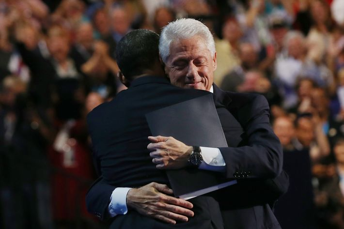 CHARLOTTE, NC - SEPTEMBER 05:  U.S. President Bill Clinton hugs Democratic presidential candidate, U.S. President Barack Obama (L) on stage during day two of the Democratic National Convention at Time Warner Cable Arena on September 5, 2012 in Charlotte, North Carolina. The DNC that will run through September 7, will nominate U.S. President Barack Obama as the Democratic presidential candidate.  (Photo by Justin Sullivan/Getty Images)
