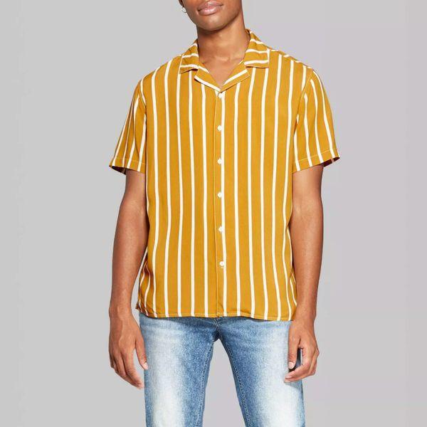 Target Men's Striped Short Sleeve Button-Down Shirt, Zesty Gold