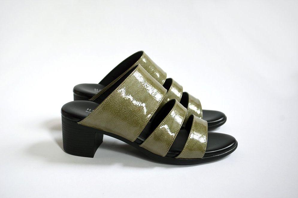 Three-Strap Sandal — Olive Patent