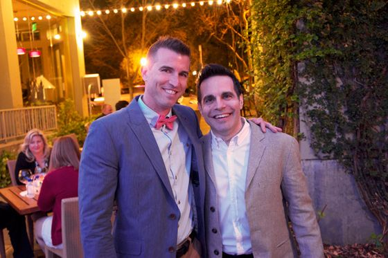 Mario Cantone (right) of <i>Sex and the City</i> fame, seen here with fan Brian Flynn, was on hand to MC a couple of the weekend's events.