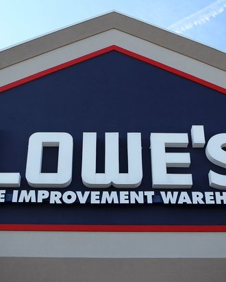 ALEXANDRIA, VA - OCTOBER 17: The sign of a Lowe's store is seen October 17, 2011 in Alexandria, Virginia. Lowe's has announced that the company will close 20 of it's 1,725 stores and cut about 2,000 jobs. (Photo by Alex Wong/Getty Images)