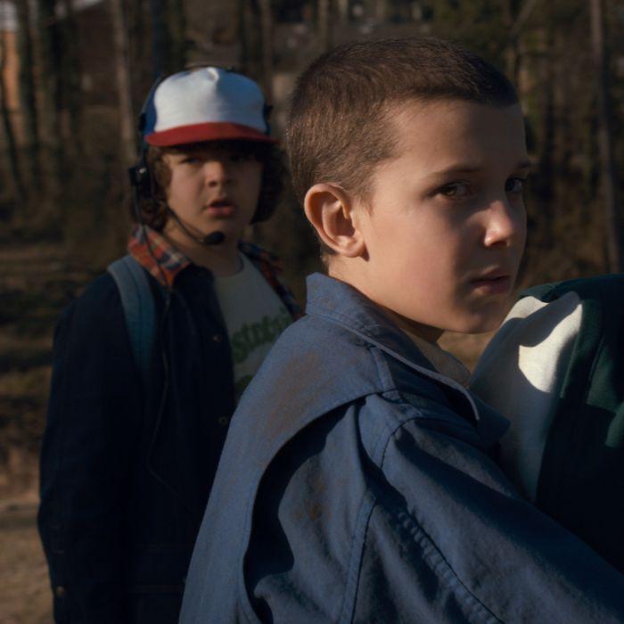 Gaten Matarazzo as Dustin, Millie Bobby Brown as Elle, Finn Wolfhard as Mike.